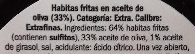 Habitas fritas Extra - Ingredientes - es