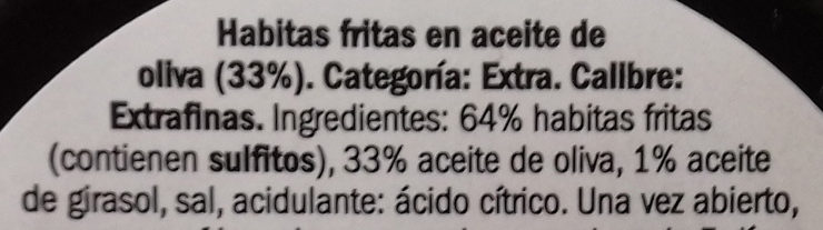 Habitas fritas Extra - Ingredients - es