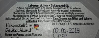 Leberwurst fein spitzenqualitat - Inhaltsstoffe