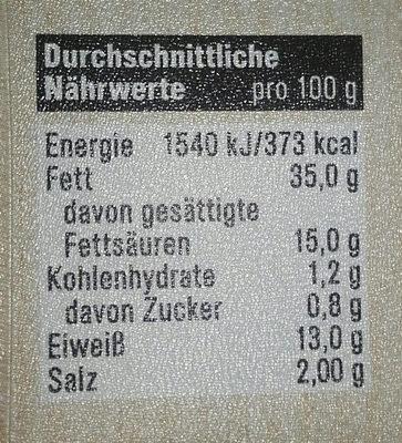 Leberwurst fein spitzenqualitat - Nährwertangaben
