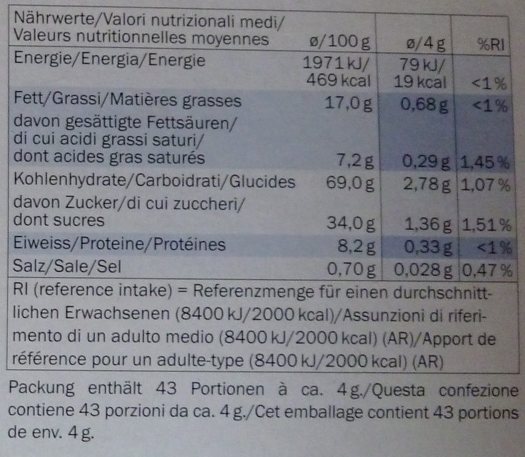 CATAGO - Biscuits aux amandes - Nutrition facts - fr