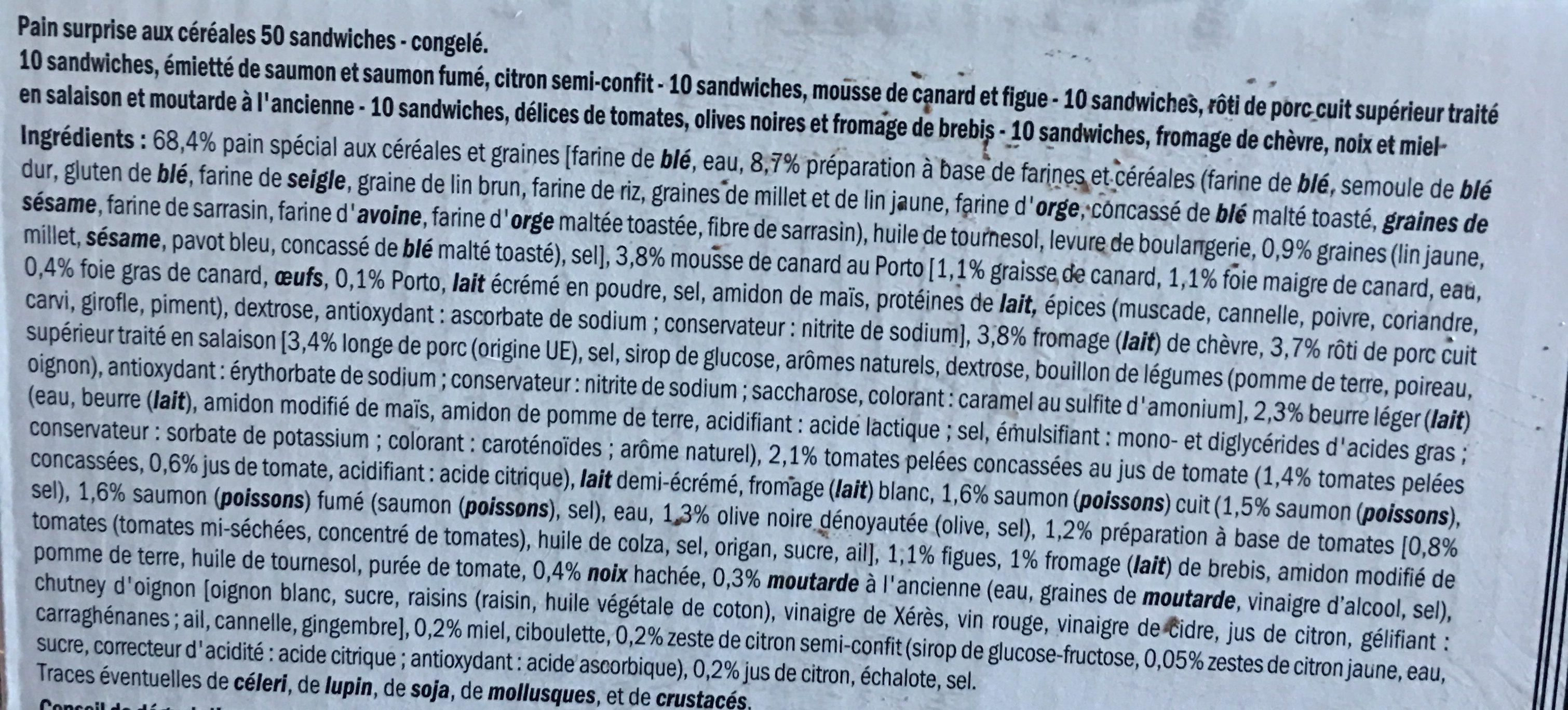 Pain Surprise Aux 6 Céréales - 50 Sandwichs - Ingredients