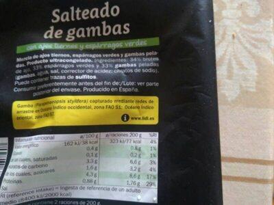 Salteado de gambas - Informations nutritionnelles - es
