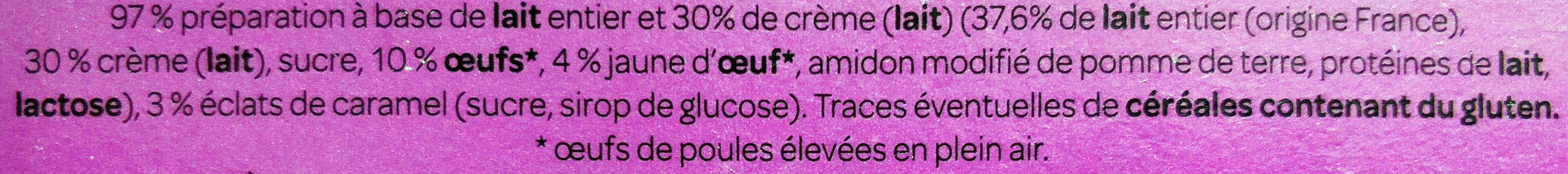 Crème brûlée - Ingrédients