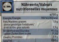 Crêpes, arôme vanille - Informations nutritionnelles - fr