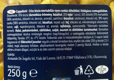 Cappelletti - mortadellás sonkás - Ingredienti - hu