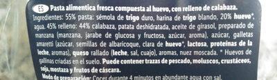 Ravioli calabaza y ricota - Ingredienti - es