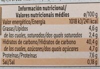 Ravioli calabaza y ricota - Valori nutrizionali - es