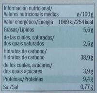 Tortelloni Ricota & espinacas - Informació nutricional