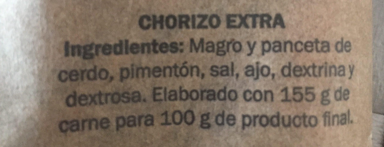 Chorizo de leon - Ingredients
