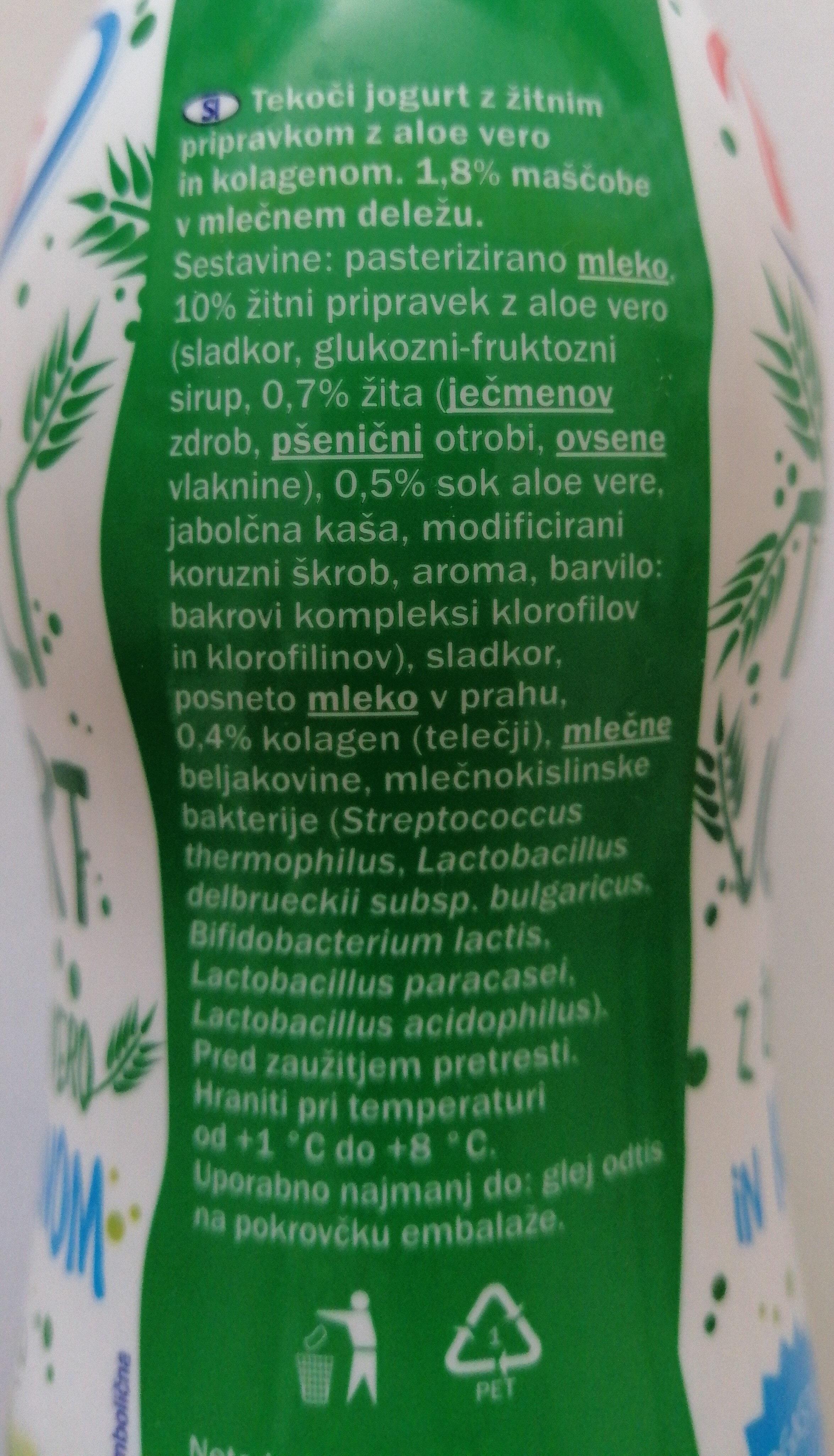 Tekoči jogurt z žitnim pripravkom in aloe vero - Ingredienti - sl