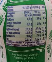 Tekoči jogurt z žitnim pripravkom in aloe vero - Valori nutrizionali - sl