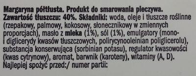 Margaryna półtłusta 40% Produkt do smarowania - Składniki - pl