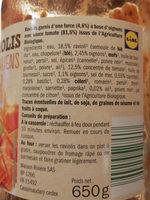 Raviolis Végétariens - Informations nutritionnelles
