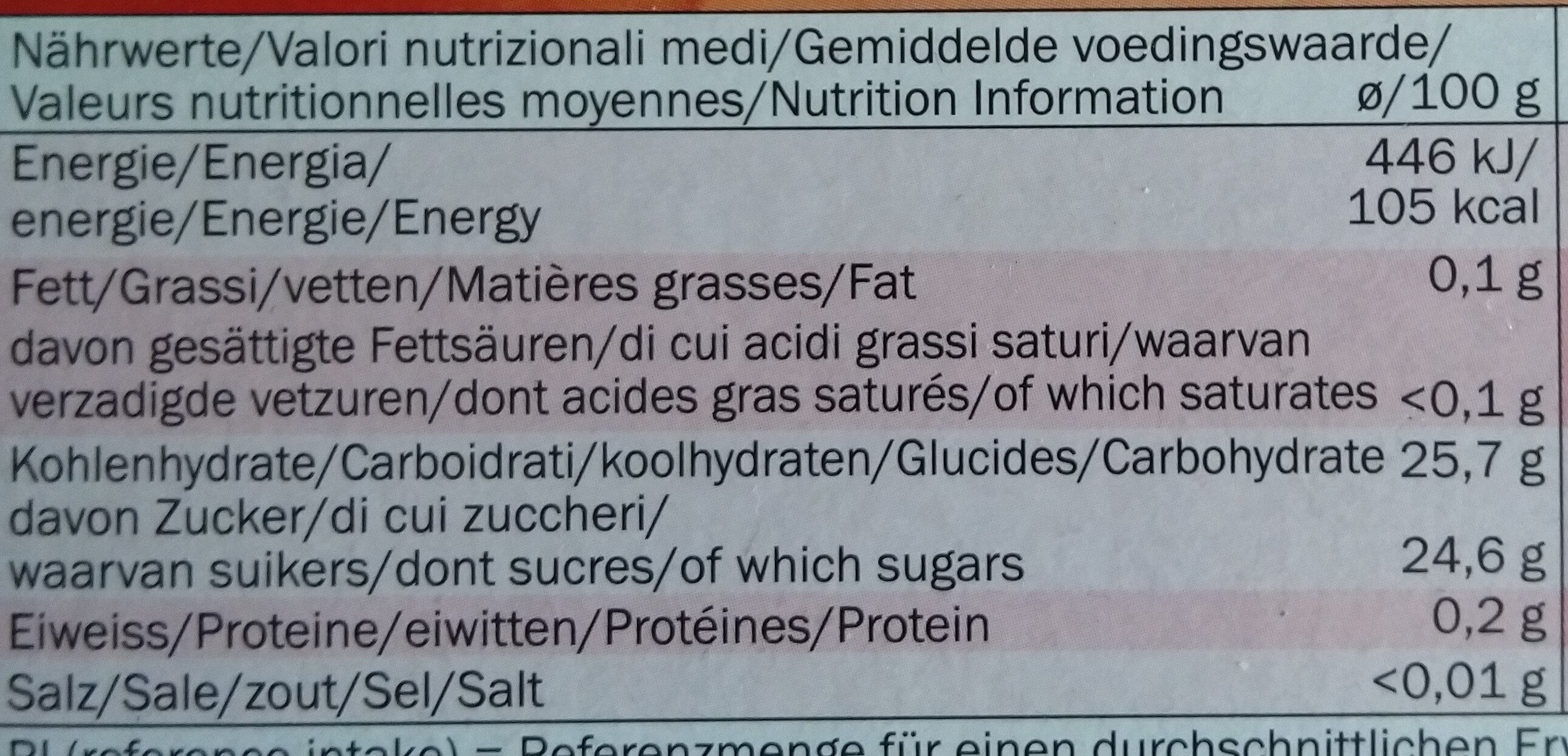 Strawberry Push Up Lollies - Informations nutritionnelles - fr