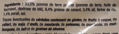 Pommes de terre à la Sarladaise à la graisse de canard - Ingrediënten - fr