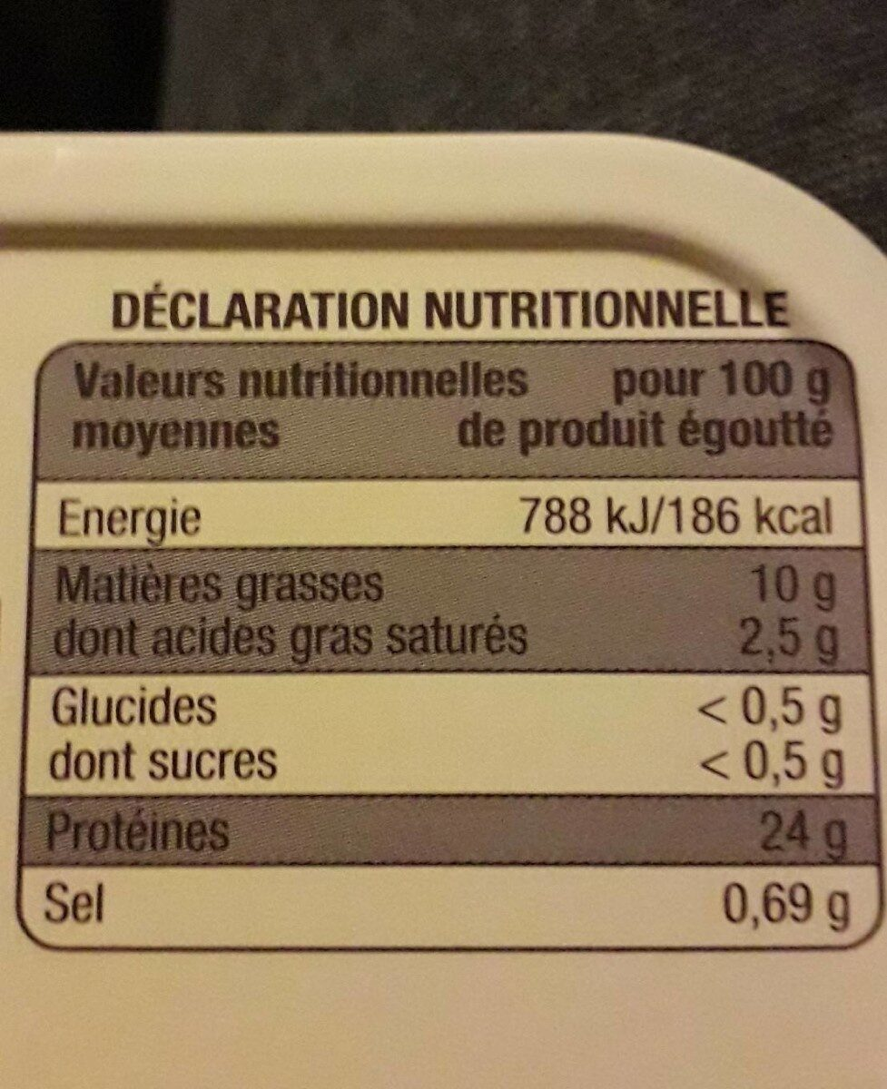 Sardines de Saint Gilles Croix de Vie - Nutrition facts - fr