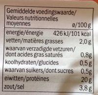Filet De York 150 Gram (baroni) - Informations nutritionnelles