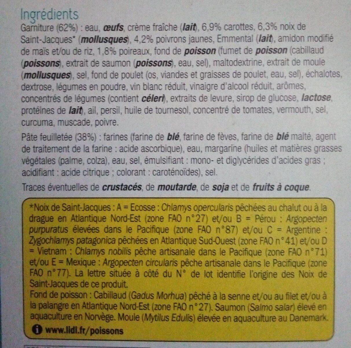Tarte aux noix de Saint-Jacques & petits légumes - Ingrédients - fr