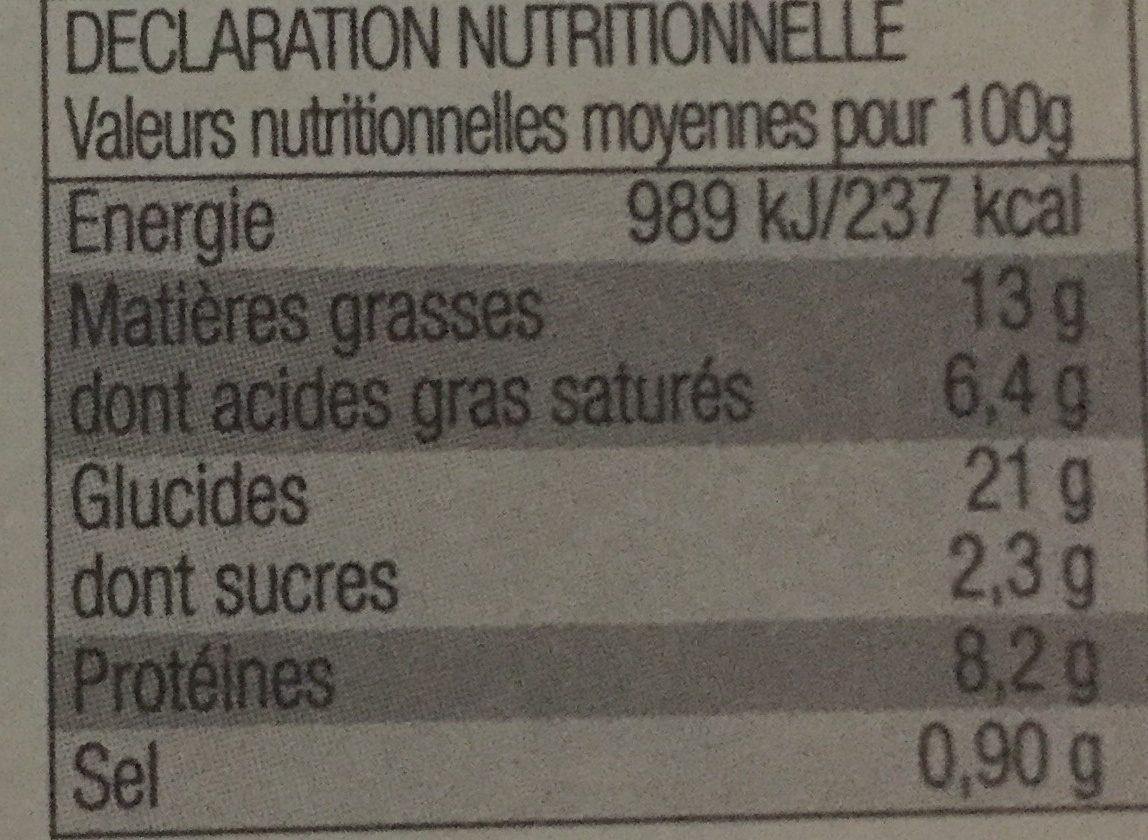 Tarte aux noix de Saint-Jacques & petits légumes - Informations nutritionnelles - fr