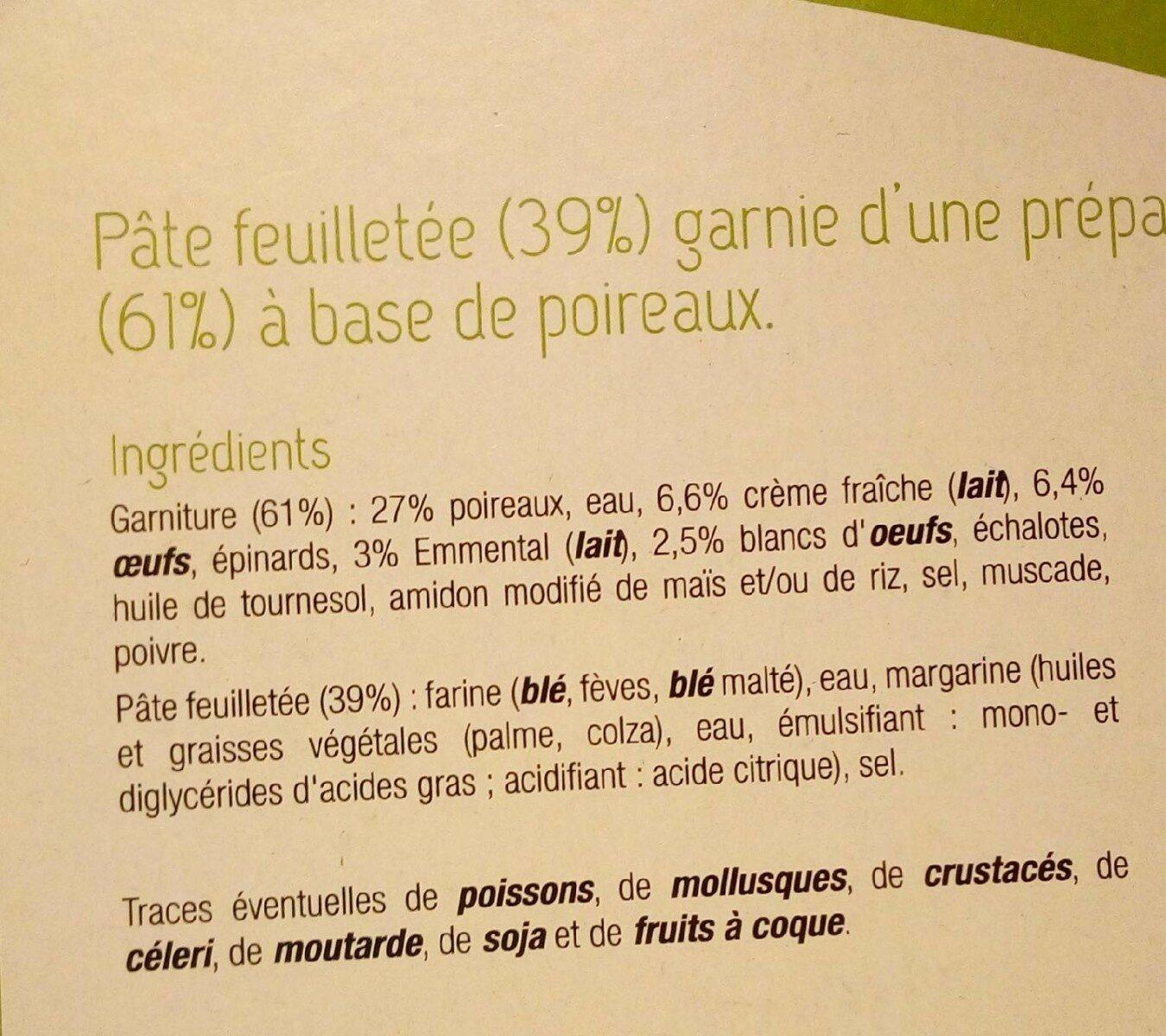 Tarte aux poireaux - Ingredientes - fr