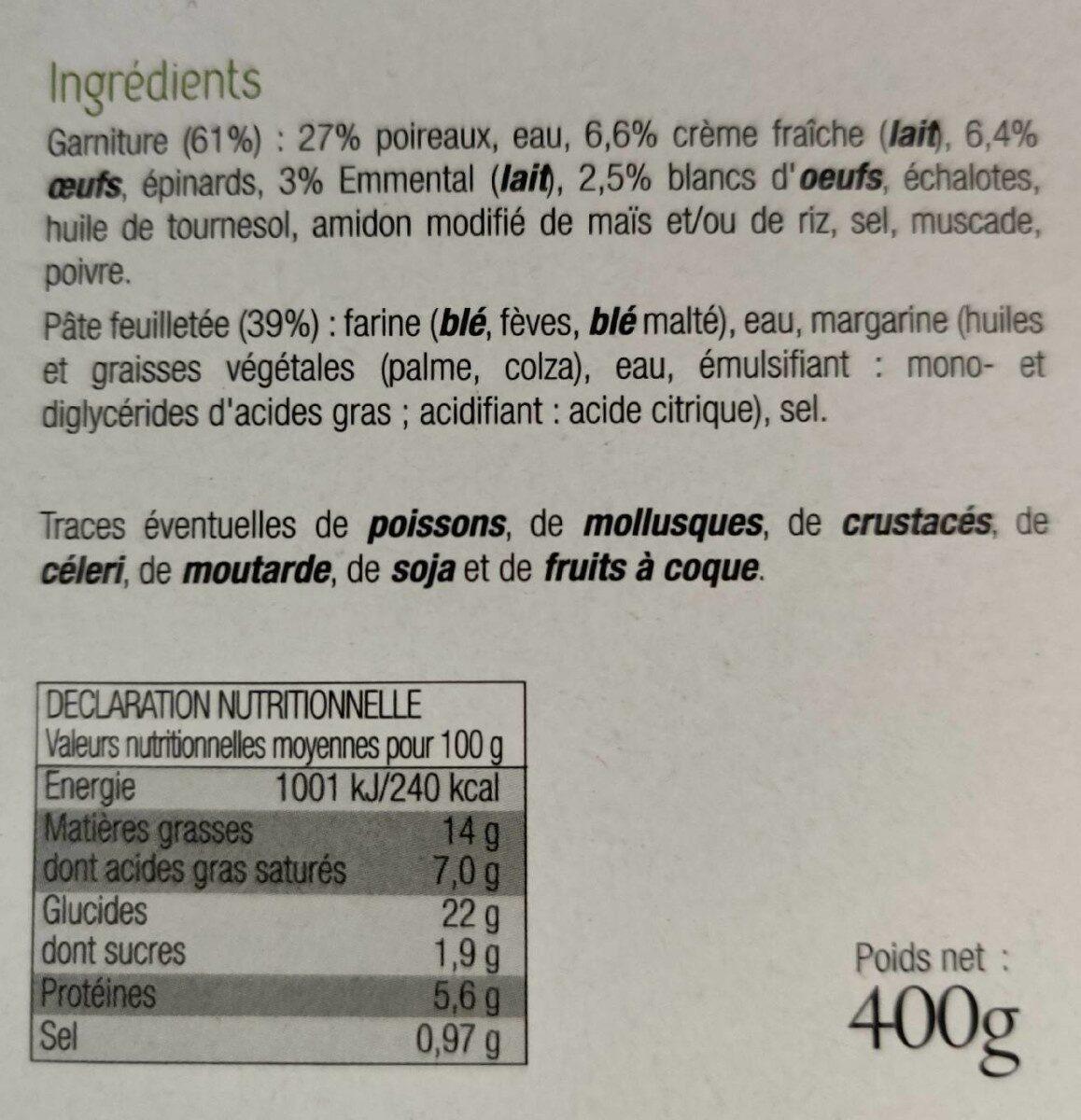 Tarte aux poireaux - Nutrition facts - fr
