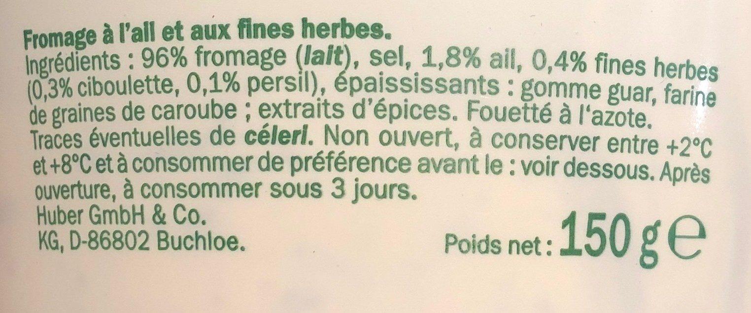 Ail et fines herbes - Ingrediënten - fr