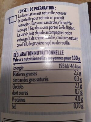 Soupe de poisson - Informations nutritionnelles - fr