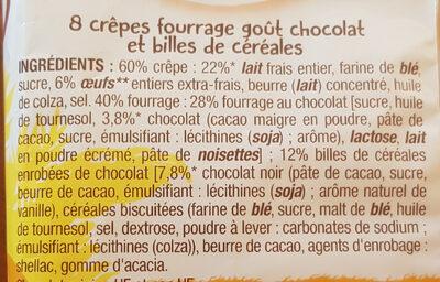 Crepe chocolat & cereales croustillantes - Ingrédients - fr