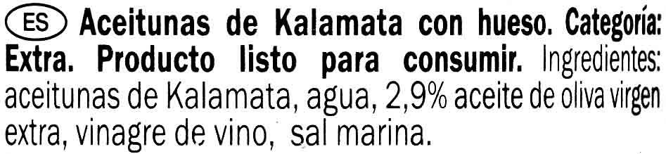 Aceitunas de Kalamata - Ingredientes - es