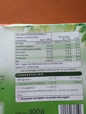 8 palets de légumes - Nutrition facts