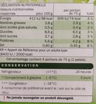 8 palets de légumes - Nutrition facts - fr