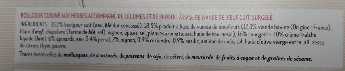 Boulettes au boeuf, Boulgour aux herbes - Ingrédients - fr