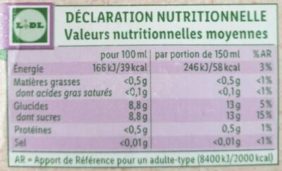 Nectar multifruits Bio - Informations nutritionnelles - fr