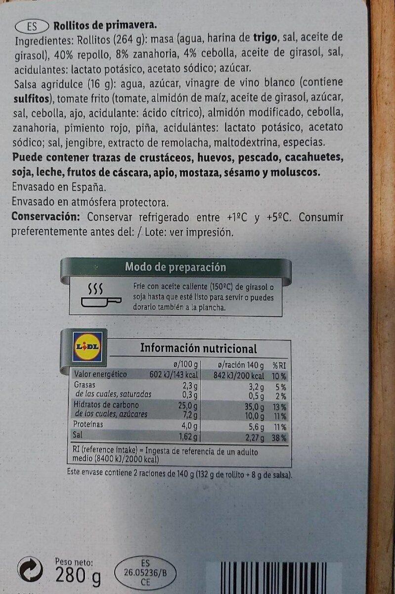 Rollitos de primavera - Información nutricional - es