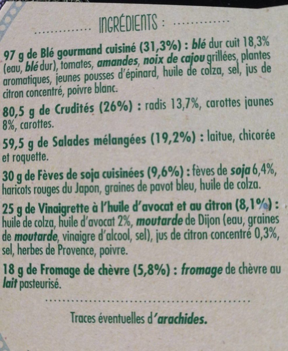 Salade chèvre - Ingrédients - fr