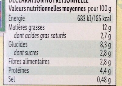 Salade chèvre - Informations nutritionnelles - fr