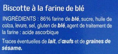 Biscottes au froment - Ingrédients