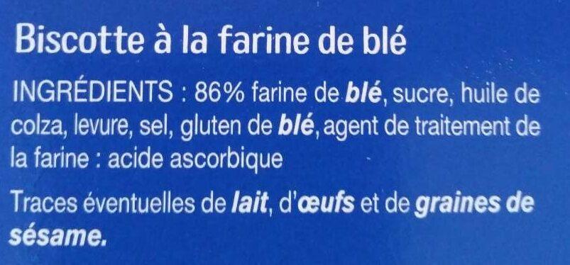 Biscottes au froment - Ingrédients - fr