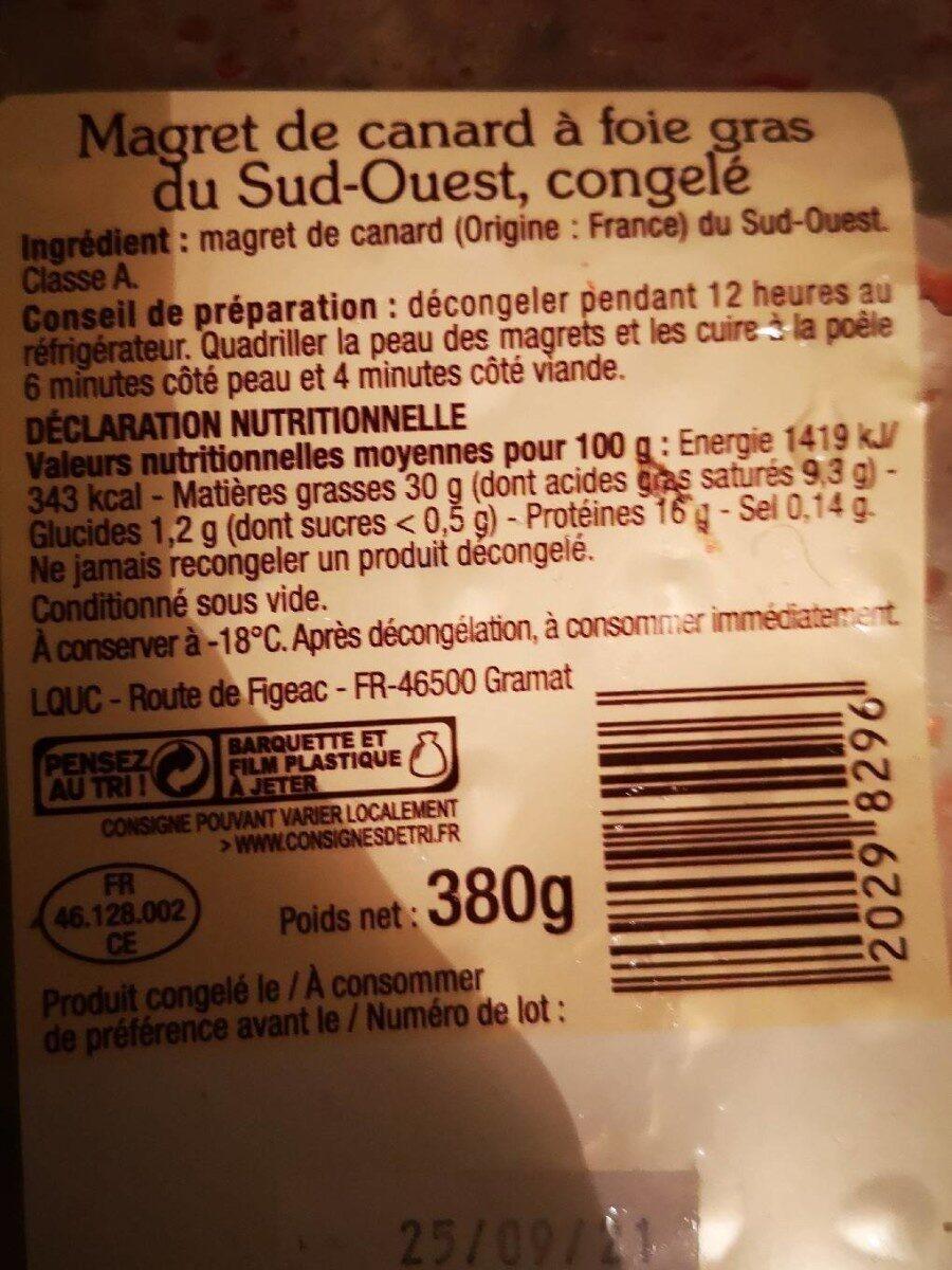 Magret de canard du sud ouest - Nutrition facts - fr