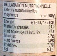 moutarde à l'ancienne bio - Valori nutrizionali - fr