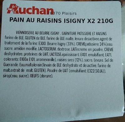 Pain au raisin isigny - Ingrédients - fr