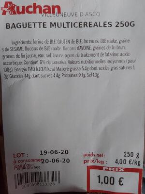 baguette multicéréales - Informations nutritionnelles - fr