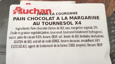 Pain au chocolat a la margarine au tournesol x4 - Ingredients