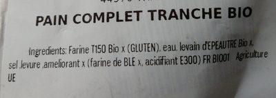 Pain complet BIO - Ingrédients - fr