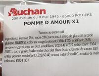 Pomme d'amour - Informations nutritionnelles - fr