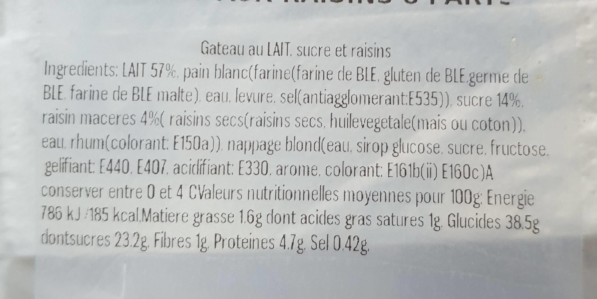 Pudding Aux Raisins 8 Parts - Informations nutritionnelles - en