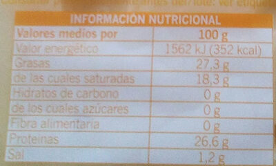 Queso Maasdan - Información nutricional