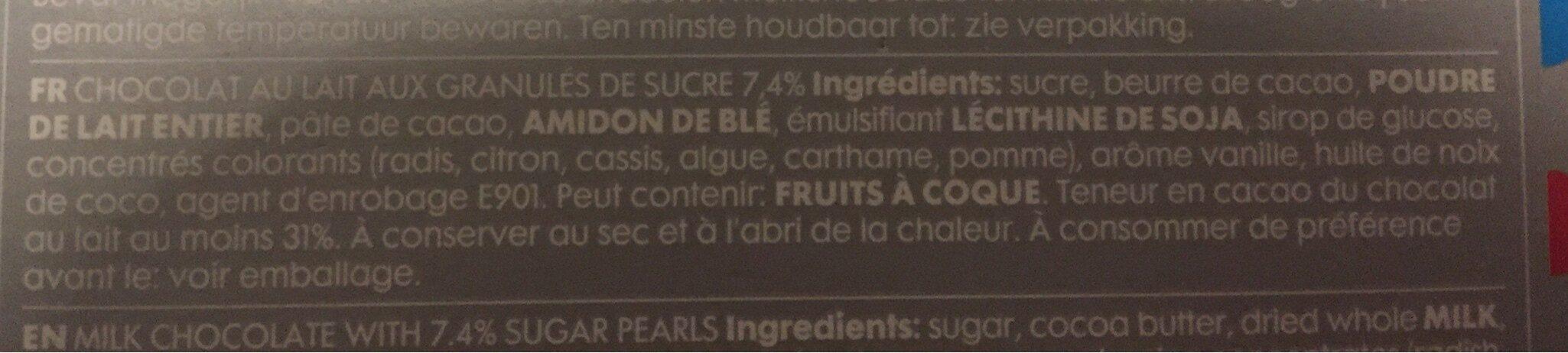 Chocolat au lait aux granules de sucre - Ingrédients - fr