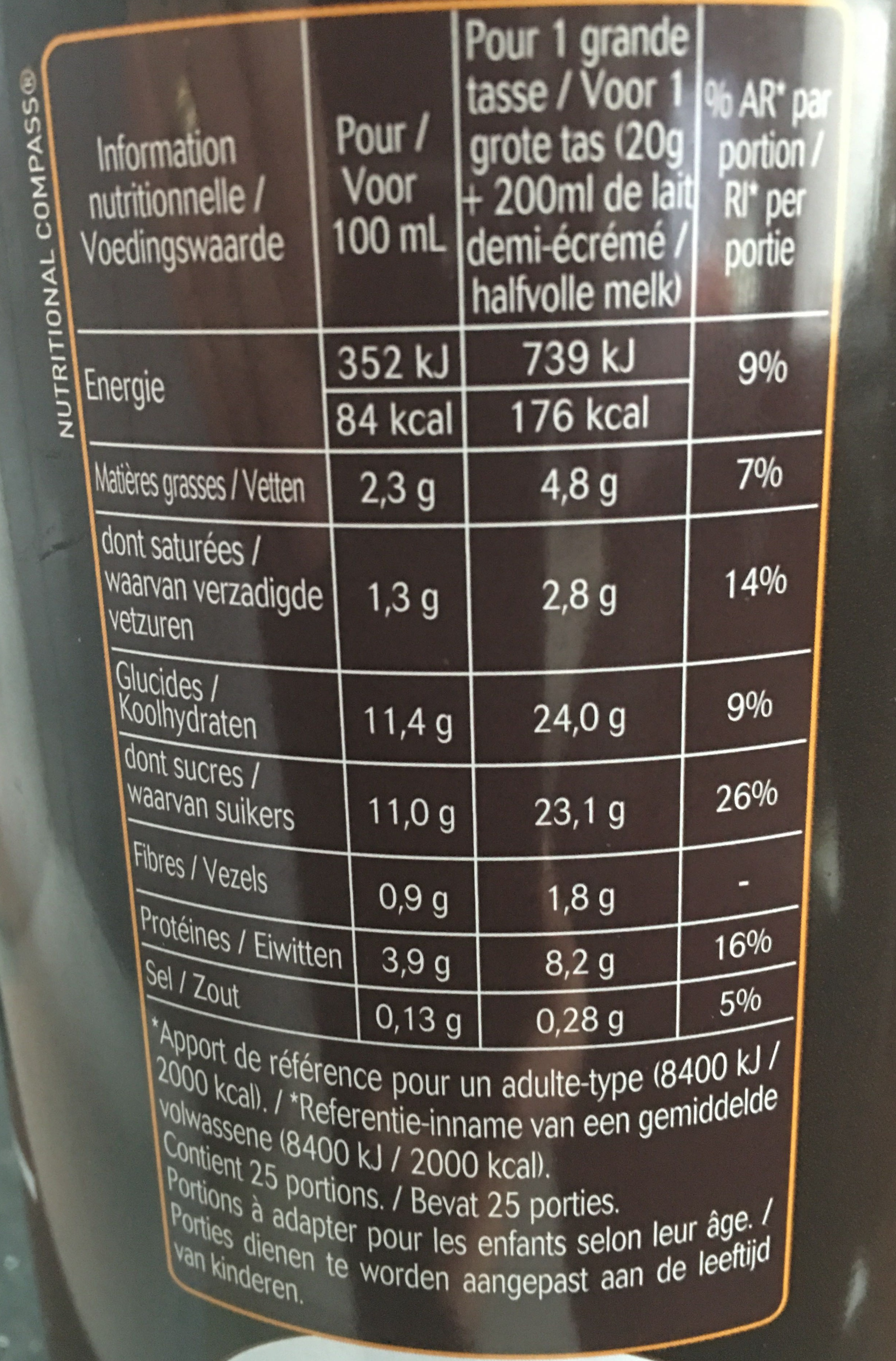 Le chocolat - Nutrition facts